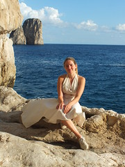 marilyn (E Pulejo) Tags: blue sea portrait me beauty marilyn island capri rocks sitting dress view stones
