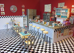 (1 of 9) Red Fox Diner Detail (Foxy Belle) Tags: red food white black ice scale kitchen bar vintage table restaurant miniature check chair play furniture ooak board cream barbie diner retro mcdonalds grill fimo 16 stool checker sindy repaint