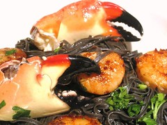 Squid Ink Pasta with Fresh Pan Roasted Shellfish