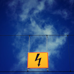 Lightning strikes (Jani M) Tags: blue red sky sign yellow lightning