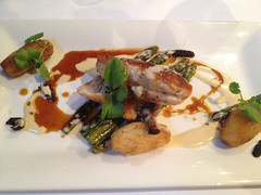 Chicken supreme with morel mushroom cream sauce & grilled asparagus (Bookatable) Tags: london restaurant 11 cadogangardens