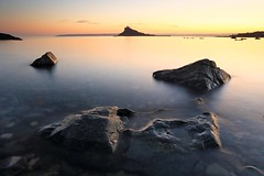 September Sunset (Tony Armstrong-Sly) Tags: longexposure autumn sunset sea sky seascape color colour beach nature clouds landscape coast seaside rocks september penzance marazion mountsbay
