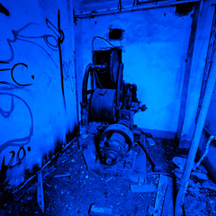 Elevator in Blue (Thomas Hawk) Tags: california usa abandoned america graffiti unitedstates unitedstatesofamerica elevator eastbay byron byronhotsprings