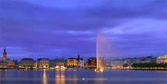 Hamburg - Germany (~ Floydian ~ ) Tags: city longexposure blue sunset panorama tower fountain canon reflections germany landscape lights town view stitch pano hamburg wide panoramic hour stitching after bluehour viewpoint province binnenalster ptgui floydian proframe proframephotography canoneos1dsmarkiii henkmeijer