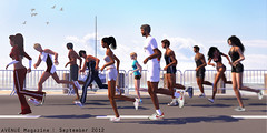 AVENUE Magazine | Sept 2012 (♛ Baronne ♛) Tags: shadow people sport bronze pose gold amazing jump shoes action marathon avatar champion running run best medal secondlife olympic avenuemagazine triathlon hurdles argent victoire london2012 sportive huckleberryhax