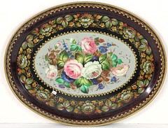 59. Large Russian Hand-Painted Toleware Tray