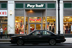 Pay Half (Flint Foto Factory) Tags: auto city autumn summer urban 6 chicago fall classic car retail vintage early store illinois clothing automobile downtown afternoon loop side profile womens september madison german 80s storefront bmw series late intersection pm 1980s import coupe wabash apparel 2012 payhalf worldcars
