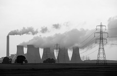 Cooling Towers in Misty Rain (jasper_rubin) Tags: england mist industry rain train industrial railway steam powerlines electricity powerplant coal hedgerow railline