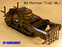 "M4 Sherman ""Crab"" Flail Mk.I (WIP) (""Rumrunner"") Tags: world 2 canada beach war tank lego wwii crab canadian ww2 ww m4 sherman juno worldwar2 flail rumrunner mki brickarms"
