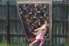 Disappearing 9-Patch (J Taylor Quilts) Tags: free motion quilting disappearing 9patch fall floral flowers leaves meandering quilt little girl running