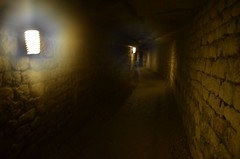 Inside The Catacombs of Paris, Lit up path (SpirosK photography) Tags: light paris france cemetery skulls lights path corridor halo graves bones tunnels catacombs crypt cimeterio thecatacombsofparis         miningtunnels