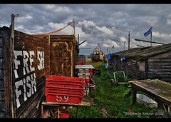FRESH FISH  59 (frattonparker) Tags: sea sky tractor beach clouds boats fishing paint working boxes nets winch trawler englishchannel timbers sheds cluttered untidy lamanche freshfish clinkerbuilt tamron1024mm nikond5000 photomatixpro4 btonner frattonparker