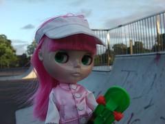 Doing some skateboarding innit.