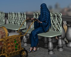 nancy01_189a272 (hubertprevy) Tags: blue bench carved hands stroller mother barefoot marble niqab