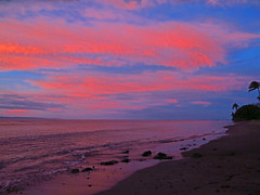 technicolor morning (bluewavechris) Tags: ocean morning sea sky color water clouds dawn hawaii lava sand scenic maui palm bach swell breakingdawn