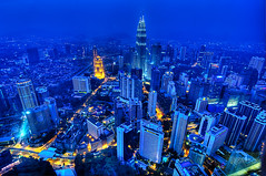 Like Blood Through Veins - Kuala Lumpur At The Blue Hour (Sprengben [why not get a friend]) Tags: city light summer sky urban art skyline night skyscraper observation smog asia chinatown artistic time watch elevator tracks bank symmetry divine international malaysia metropolis bluehour kualalumpur foreign hdr linear petronastower d800 worldtrip d4 d600 travelphotography d90 photomatix d700 travellight sprengben