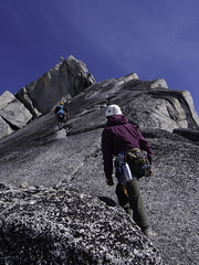 The Bugaboos - Starting up the West Ridge of Pigeon Spire (Tideline to Alpine Photo, Idiosyncrasy Exemplified) Tags: camping sky mountains expedition clouds hiking spires adventure climbing alpine granite mountaineering wilderness slab scrambling alpinism bugaboos thebugs tradclimbing alpineclimbing pigeonspire bugabooprovincialpark applebeecamp applebeedome pigeonspirewestridge