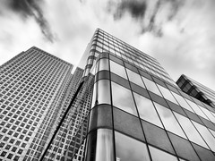 FSA & One Canada Square (Sean Batten) Tags: uk england blackandwhite bw reflection london glass architecture clouds canon steel fsa onecanadasquare s95