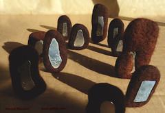 Achavanich Standing Stone Brooches (patbatcom) Tags: archaeology work silver jewelry felt pins jewellery caithness burialsite achavanich