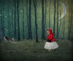 Little Red Riding Hood (Cat Girl 007) Tags: red halloween fairytale colorado spooky textures littleredridinghood contemporaryartsociety fourmilehistoricpark moonseclipse simplysuperb treesbyashensorrow nightskybynacnud wolfstretchbyfurlined