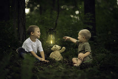 Brothers Catching Fireflies (Phillip Haumesser Photography) Tags: light boy playing green nature boys kids forest children fun kid woods child play natural sony magic 85mm adventure imagination magical fireflies samyang philliphaumesser