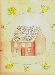 Bats in the Attic Part One the Bats (Fauna Finds Flora) Tags: house tea bats flower frame flora floral yellow red tan poem story poetry animals flight fly whimsical art nature illustration faunafindsflora