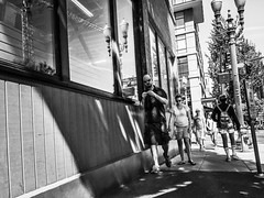 The Funnel Of Foot Traffic (TMimages PDX) Tags: iphoneography photography image photo photograph streetscene fineartphotography geotagged people urban city street streetphotography portland pacificnorthwest sidewalk pedestrians buildings avenue road blackandwhite monochrome vignette
