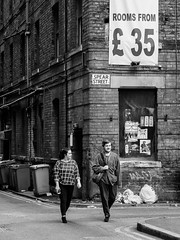 Northern Quarter #121 (Peter.Bartlett) Tags: manchester bag backpiccadilly unitedkingdom city graffiti bin lunaphoto girl candid uk m43 couple bw wall noiretblanc dumpster people streetphotography olympuspenf woman window walking litter urbanarte niksilverefex man urban tree rubbish corner poster microfourthirds peterbartlett cellphone doubleyellowlines sign dustbin monochrome blackandwhite