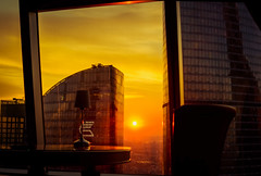 1821-1 (i.gorshkov) Tags: urban travel architecture moscow city skyscraper sunset sun sky clouds orange horizon beautiful view hotel room indoor outdoor business dawn evening building cityscape blue