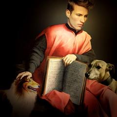 Dogs and books, good friends (jaci XIII) Tags: co livro pessoa homem pintura dog book person man painting