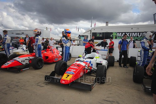 The drivers get ready for the British F4 race at Rockingham, August 2016