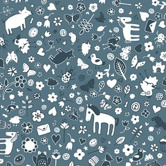 Pigs and Ponies Ditsy - Grey and White (Cecca W) Tags: spoonflower patterndesign surfacedesign pattern surfacepattern fabric redbubble repeatpattern