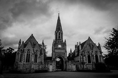 Hampstead Cemetery chapel (MoreToJack) Tags: london church architecture hampstead hampsteadcemetery bw gothic neogothic blackandwhite cemetery chapel