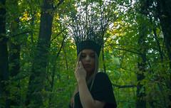 eurydice (Moonpollution) Tags: crown girl model forest autumn green black makeup face portrait sun sunset light lights lighting headset headdress beauty color hand eyes