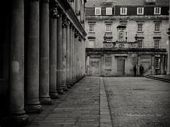 Bath scene (rhfo2o - rick hathaway photography) Tags: rhfo2o canoneos7d canon bath somerset street pillars path road coblles bw blackandwhite mono