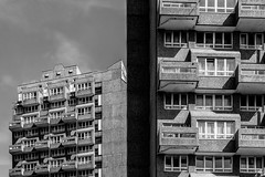 Cotton Gardens estate (Gary Kinsman) Tags: canon24105mmf4l london se11 kennington lambeth elephantcastle southlondon canoneos5dmarkii canon5dmkii square architecture towerblocks socialhousing councilestate brutalism brutalist modernism modernist cottongardensestate concrete georgefinch tower highrise topographics newtopographics 2016 urbanlandscape bw blackwhite