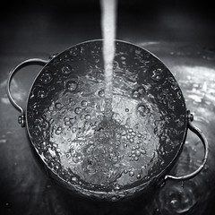 Bubbly (Darren LoPrinzi) Tags: 5d canon5d canon bw blackandwhite blackwhite mono square squareformat water wet bubbles bubbly faucet pour runningwater drops f64g78r4win