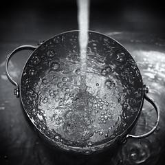 Bubbly (Darren LoPrinzi) Tags: 5d canon5d canon bw blackandwhite blackwhite mono square squareformat water wet bubbles bubbly faucet pour runningwater drops