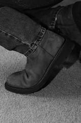 DSC_4941 (jakewolf21) Tags: bw monochrome chains cowboy boots jeans western soles cuffs chained ariat legirons