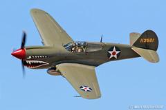 P-40 Warhawk (mvonraesfeld) Tags: california ca flying fighter aircraft aviation wwii flight airshow warbird watsonville flyin 2012 curtiss p40 warhawk p40e img6449