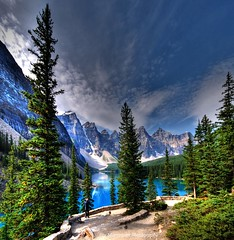 valley of the ten peaks at moraine lake  (banff national park) (Rex Montalban) Tags: canada alberta banff hdr moraine nationalgeographic banffnationalpark morainelake valleyofthetenpeaks hss photomatix vertorama rexmontalbanphotography pse9 sliderssunday photoshopelements9