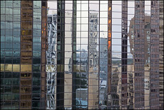 Skyline of sorts (Nelson Webb) Tags: vertical skyline reflections downtown edmonton slices manulife hobos hoboswithnikons