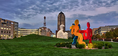 Pappajohn Sculpture Park  - Des Moines, IA (w4nd3rl0st (InspiredinDesMoines)) Tags: park city family urban fall beautiful skyline canon fun artwork warm screensaver outdoor dusk stock iowa bluehour hdr 2012 desmoines twighlight greengrass partlycloudy nomade stockphotography 801grand dancingfigures desmoinesartcenter 1585 mostlysunny stockart westerngateway projectweather frameableart desmoinesisnotboring