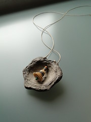 bead tower (nightcloud1) Tags: percussion autumncolors cotton warmgrey recycledtextiles nightcloudjewelry beadtower