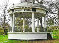 The Bandsmen's Memorial (Steve Taylor (Photography) Internet V slow) Tags: newzealand christchurch earthquake memorial columns steps canterbury nz quake damage southisland cbd february railings daffodils supports hagleypark 2011 bandsmans bandsmensmemorial