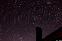 ALL THE STARS without planes - edit (Aristarkh) Tags: chimney house silhouette dark stars star purple north trails startrails