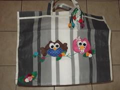 Sacola de feira - Coruja (Ponto em Ponto) Tags: de artesanato feira coruja feltro sacola