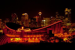 Night Lights (stevenbulman44) Tags: autumn calgary fall hockey canon lights saddledome downtown nightshot tripod remote gitzo 2470f28l