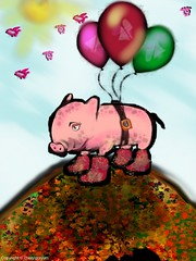 I Want to Fly Like The Others - flying Pig  -challenge (Cowgirl111) Tags: art digital painting pig fly flying others drawing finger like want to challenge iphone the ipad sketchclub i