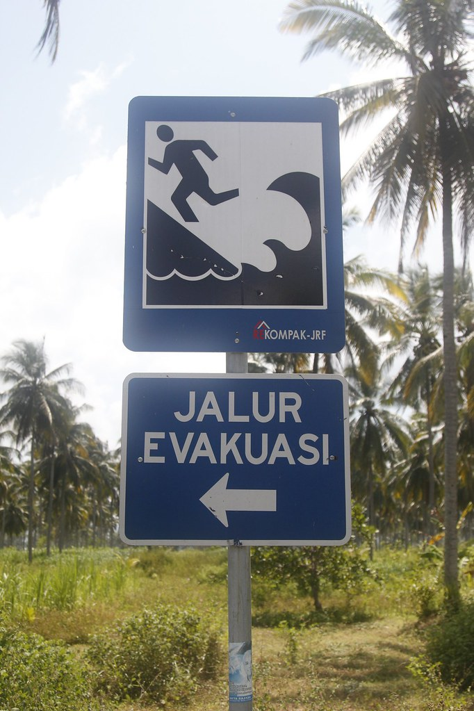 Tsunami warning, Pangandaran, West Java, Indonesia